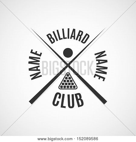 Grey logo for different types of billiards pool snooker isolated on white background in retro style vector illustration.