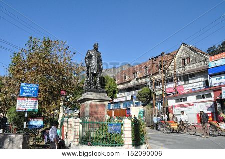 Nainital Uttarakhand India- November 11 2015: Statue of Pt. Govind Ballalbh Pant (freedom fighter and one of the architects of modern India) at Riksha Stand Mallital Nainital Uttarakhand India. Nainital is a popular hill station in Uttarakhand named after