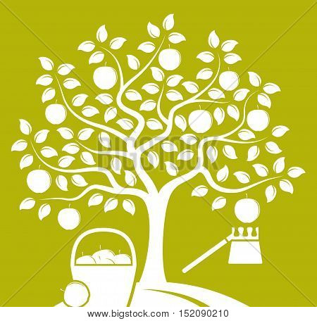vector apple tree with basket of apples and fruit picker isolated on green background
