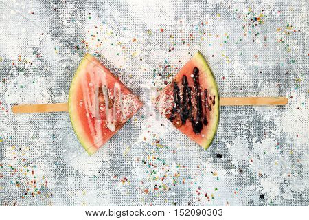 Slices Watermelon In Ice Cream Popsicle Shape