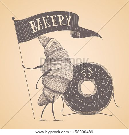 Bakery shop pastry vector logo sign icon symbol emblem insignia. Cute isolated hand drawn graphic design element illustration with croissant and donut funny character