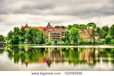 View of Muhlenteich, Mill Pond in Lubeck - Germany, Schleswig-Holstein