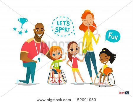Sports family. Handicapped Kids in wheelchairs playing ball and have fun with their friend. Coaching handicapped young sportsmen's. Medical rehabilitation. Vector Illustration