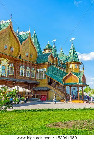 MOSCOW RUSSIA - MAY 10 2015: The wooden Palace of Tsar Alexei Mikhailovich is the pearl of Kolomenskoye Manor and the fine example of Russian medieval architectural style on May 10 in Moscow.