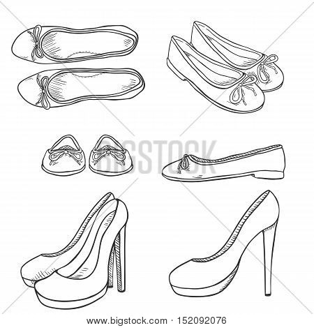 Vector Set Of Sketch Women Shoes. Side, Front And Top View