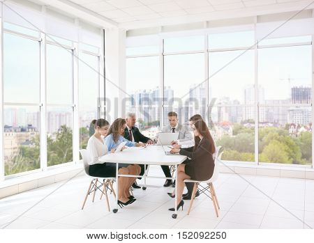 Business training concept. Colleagues at office