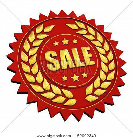 Sale red and gold label isolated on white , 3d illustration