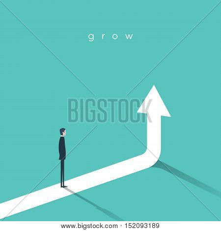 Business growth vector concept with businessman and vertical arrow going up. Eps10 vector illustration for success and career development.