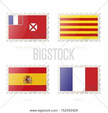 Postage Stamp With The Image Of Wallis And Futuna, Catalonia, Spain, France Flag.
