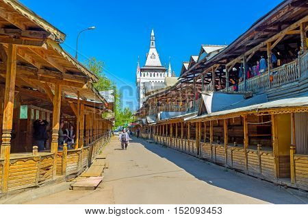 MOSCOW RUSSIA - MAY 10 2015: The shady wooden galleries of Izmailovsky market surround the Kremlin complex on May 10 in Moscow.