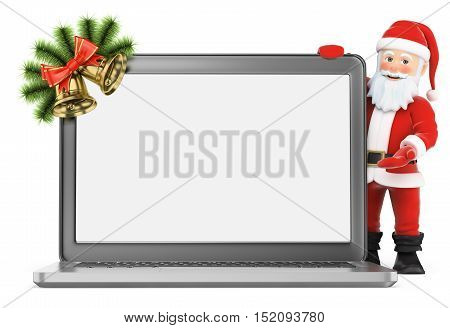 3d christmas people illustration. Santa Claus with blank screen laptop. Isolated white background.