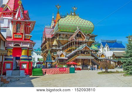 MOSCOW RUSSIA - MAY 10 2015: The timbered Tsar's Palace of Izmailovsky Kremlin was built in the same style as the Summer Palace of Tsar Alexey in Kolomenskoye on May 10 in Moscow.