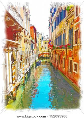 Venice - water channel, old buildings & gondola away. Color drawing
