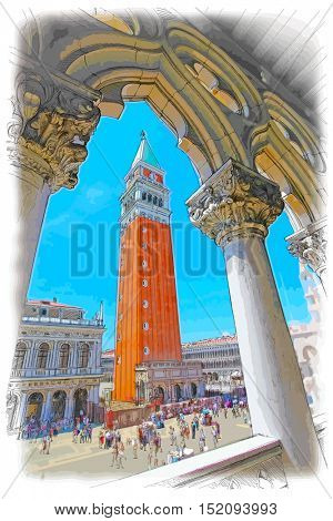 Venice - Piazza San Marco and Kampanila. View from the Doge's Palace. Color drawing