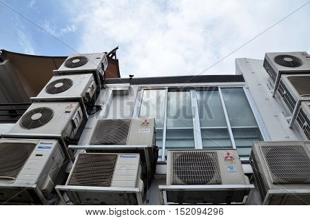 Back Alley Of Shophouse With Multiple Air-con Unit