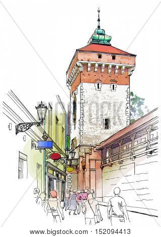 Krakow. Poland. Tower of city wall. Color illustration