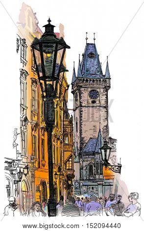 Prague, Czech Republic - a color illustration