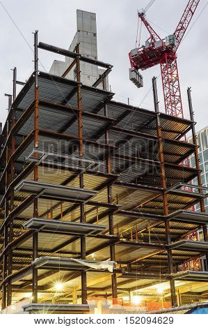 South Boston Massachusetts USA - October 13 2016: Early morning view of steel frame climbing concrete core of 50 Liberty residential project in South Boston