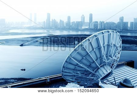 picture of parabolic satellite dish space technology receivers