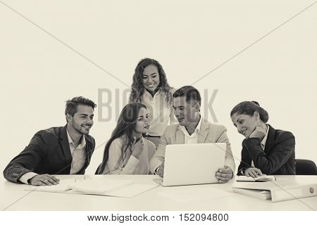 Business trainer giving presentation to group of people. Retro style