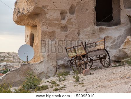 Wain and satelite in rural setup in Cappadocia, Turkey