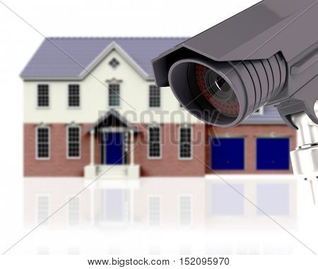 3D render of a defocussed house with CCTV - home security concept