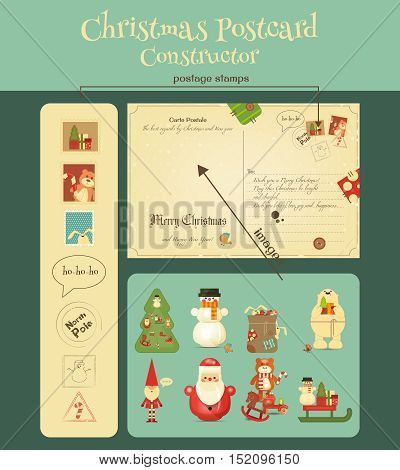 Christmas Postcard Constructor with Christmas and New Years Greeting. Backdrop of Postal Card and Set of Characters for Winter Gifts. Vector Illustration.