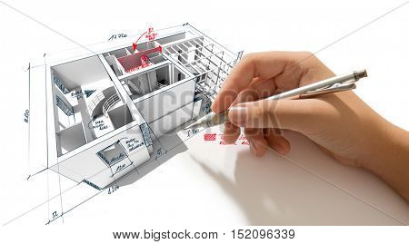 Architecture 3D rendering of a house with a hand scribbling notes and indications