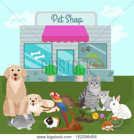 Pet shop. Pets accessories and vet store vector illustration