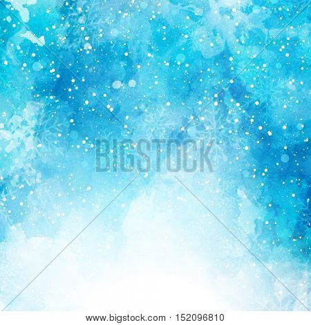 Christmas background with snowflakes on a watercolor texture