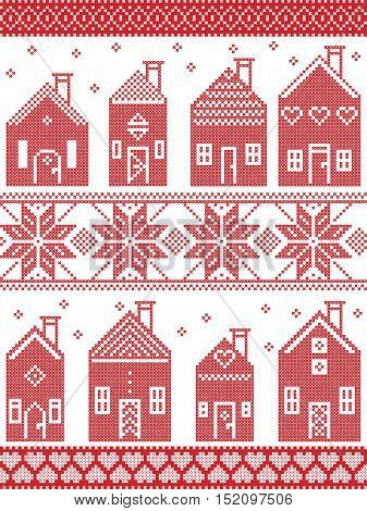 Scandinavian style and Nordic culture inspired Christmas seamless winter pattern including Swedish style houses, decorative ornaments, snow, snowflakes  in cross stitch style in  red , white