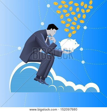 Fundraising business concept. Pensive businessman in business suit sits on top of cloud with piggy bank in his hand under rain of coins. Attracting investments crowdfunding fundraising concepts