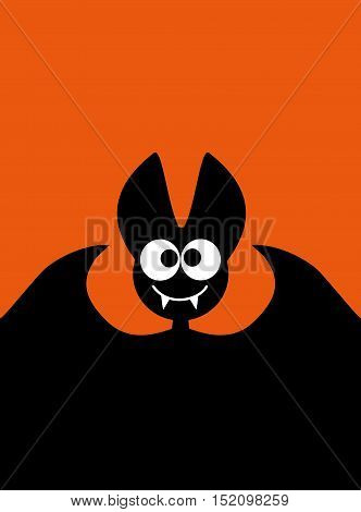 Halloween bat background idea for a festive printed products or background for the site with black bat Halloween Happy vector kids funny background with cartoon bat Halloween 31 Oct Halloween sale