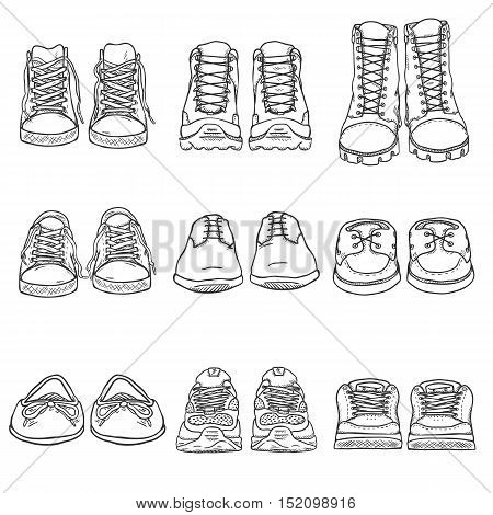 Vector Set Of Sketch Shoes Items. Front View Collection