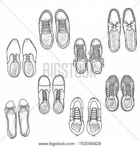 Vector Set Of Sketch Shoes Items. Top View Collection