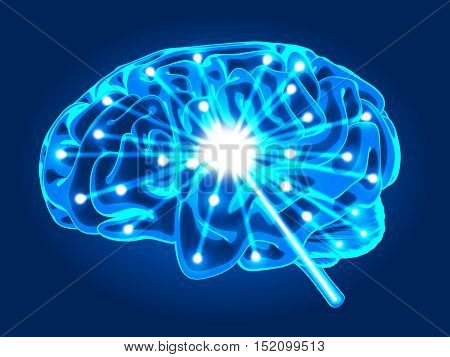 Abstract human brain activity xray (done in 3d rendering)