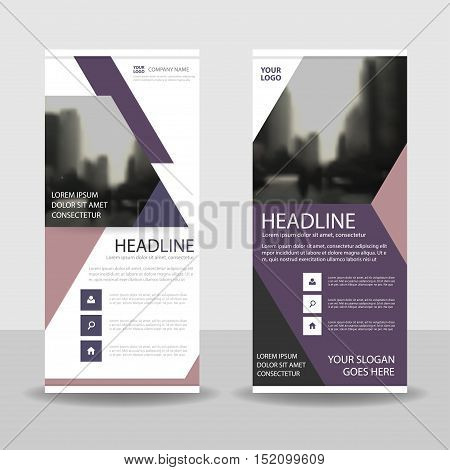 Purple pink triangle roll up business brochure flyer banner design cover presentation abstract geometric background modern publication x-banner and flag-banner layout in rectangle size.