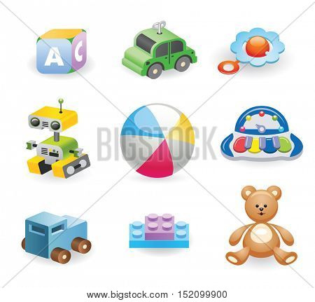 A variety of children's toys. Set of different toys for children. Vector illustration.