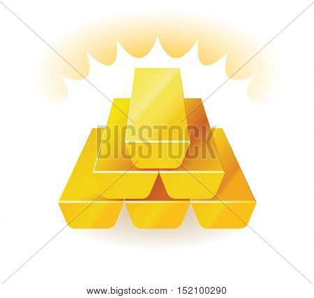 Gold bars. Vector illustration of wealth presented with gold bars stacked one on top of the other.