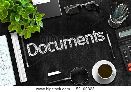 Documents - Text on Black Chalkboard. Black Chalkboard with Documents. 3d Rendering.