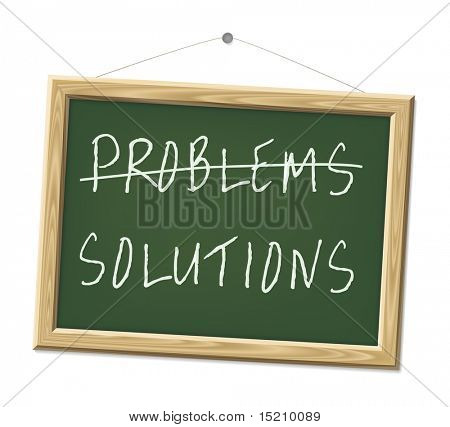 A chalk board with the words problems and solutions