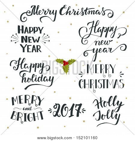 Set of hand drawn Merry christmas and Happy new year lettering. Christmas elements for design greeting cards photo overlays invitations and more. Christmas and New Year lettering