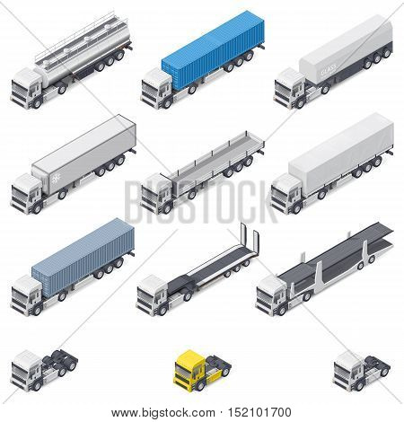 Trucks with different semi-trailers detailed isometric icons set vector graphic illustration design