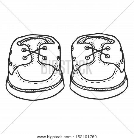 Vector Sketch Illustration - Pair Of Topsider Men Shoes. Front View