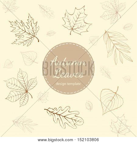 Autumn leaves design template with copy space on ivory background.