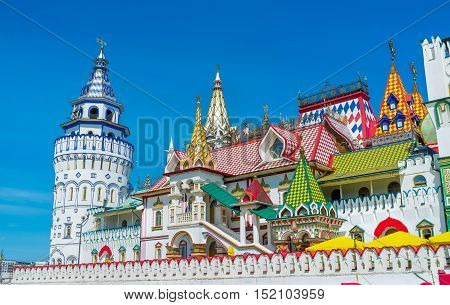 MOSCOW RUSSIA - MAY 10 2015: The Izmailovsky Kremlin is one of the most colorful and interesting city landmarks including museums restaurants fairs and markets and many other attractions  on May 10 in Moscow.