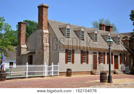 Antique House in Colonial Williamsburg Historic District, Williamsburg, Virginia, USA.