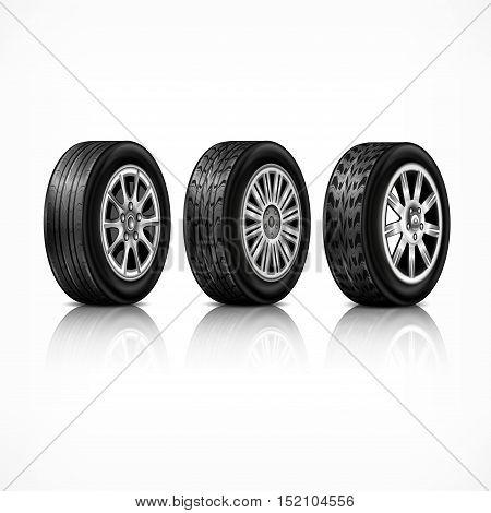 Three Rubber Wheels On White
