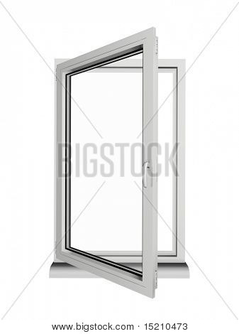 one frame and two layers opened plastic window isolated on white