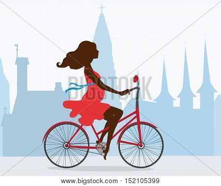 A pregnant  woman rides a bike through the capital of Iceland. Behind the girl the silhouette of the Cathedral Hallgrimskirkja and other attractions of Reykjavik. Vector illustration. Horizontal.